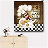 Cuadros Decoracion Salon Póster con impresión de Lienzo a Prueba de Agua Nunca confíes en una Imagen de Cocinero Flaco Cocinero Decoración de Cocina Pintura de Pared para Restaurante Decoración del h