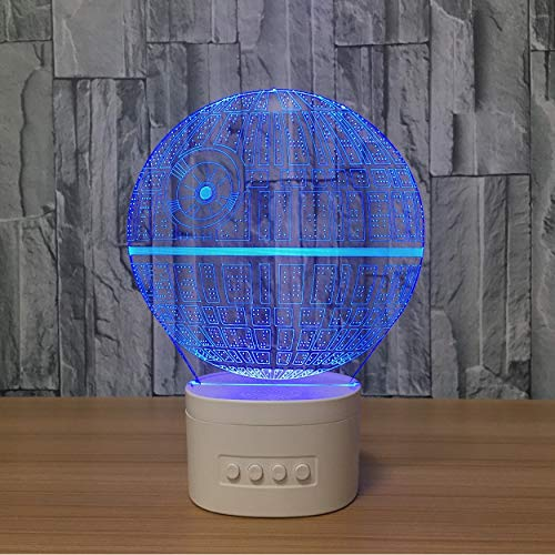 Acryl Nachtlicht Neuheit Sterne 3D Lampe Noverlty Todesstern 3D Bluetooth Lautsprecher Usb Musik Nachtlicht Farbe Veränderbar Lampara Geschenk