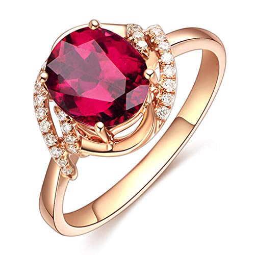 Beydodo Ring für Damen Rosegold 750 Groß Oval Turmaline 1.8ct Hochzeit Ringe Rosegold Verlobungsring Diamant Gr.54 (17.2)