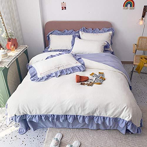 geek cook Bed Sheet Set,Milk velvet four-piece winter coral velvet double-sided velvet princess wind flannel bed linen duvet cover bedding-Azi_2.0m (6.6 feet) bed