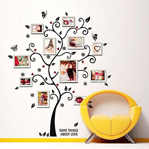 Wandtattoo Baum mit Schmetterlingen, Herzen und Blüten Stammbaum für Bilderrahmen 120 x 100cm