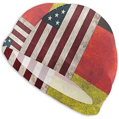 VANOE Swim Cap USA Deutschland Flagge Distressed-01 Badekappe Hohe Elastizität Strand Badehut für Männer 's Frau' s