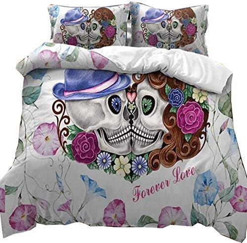 Mscomft - Juego de cama de 2 piezas, diseño de calavera con funda de edredón, diseño de calavera y flores, color rosa y rojo