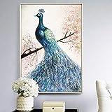 wZUN Pintura al óleo de Pavo Real Cartel nórdico Animal Pavo Real Obra de Arte Imprimir Mural Sala de Estar decoración del hogar 60x90 Sin Marco