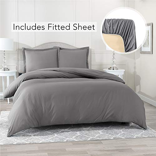 Nestl Bedding Duvet Cover with Fitted Sheet 4 Piece Set - Soft Double Brushed Microfiber Hotel Collection - Comforter Cover with Button Closure, Fitted Sheet, 2 Pillow Shams, Queen - Gray