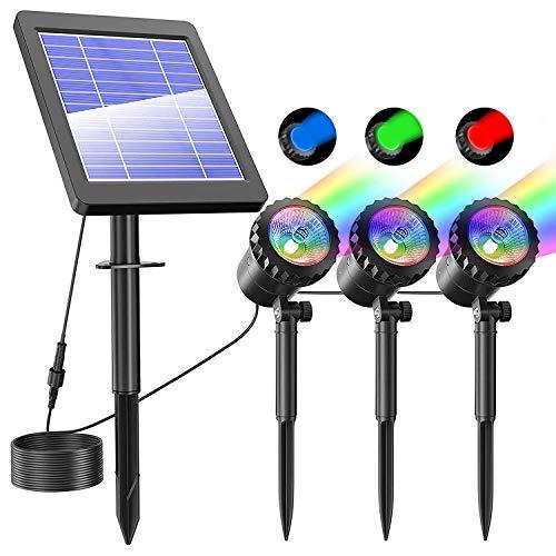 Lychee Focos LED Solares, IP68 Prueba de Agua Lámpara Solar, Solares para Estanques Proyector para Exteriores Focos Subacuáticos Lámpara Sumergible LED con 4 modos para Piscina, Jardín, Patio, Pared