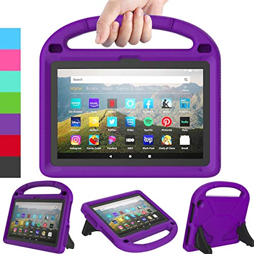 LEDNICEKER Kids Case for All-New Fire HD 8 & Plus 2020 - Lightweight Shockproof Handle with Stand Kid-Proof Case for Amazon Fire HD 8 inch Tablets (Latest 10th Generation 2020 Release)-Purple