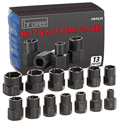 Hromee Impact Damaged Bolt Remover Set, 13 Pieces Metric and SAE Broken Lug Nut Extractor Socket Tool