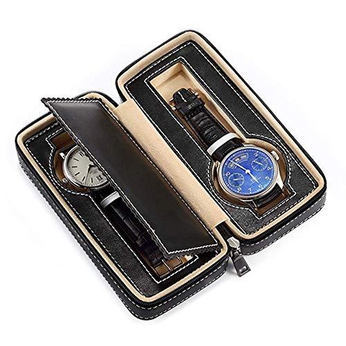 XIUWOUG Caja organizadora portátil de piel para reloj de viaje, apta para todos los relojes de pulsera, forro de terciopelo y cremallera, diseño (color: negro, tamaño: mediano)