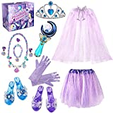 Princess Jewelry Dress Up Set, Girls Toys Gifts for Age 3, 4, 5, 6, 7, 8, 9, 10+ Years Old Kids Girls, Princess Play Shoes and Pretend Jewelry for Birthday Christmas Costumes Party Favors Supplies