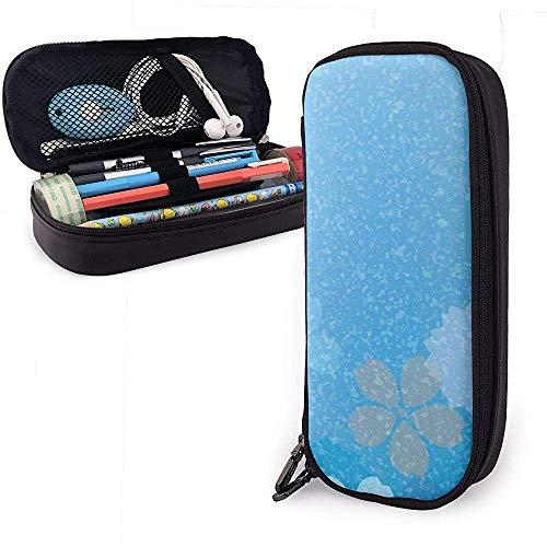 Federmäppchen mit blauem Blumen-Design, PU-Leder, große Kapazität, langlebiges Schreibwaren-Organizer, Doppelreißverschluss, 4 x 9 x 20 cm