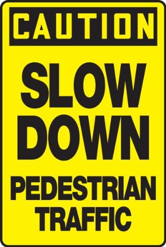"""Señal de aluminio con texto en inglés""""Caution Stop Down PEDESTRIAN T"""
