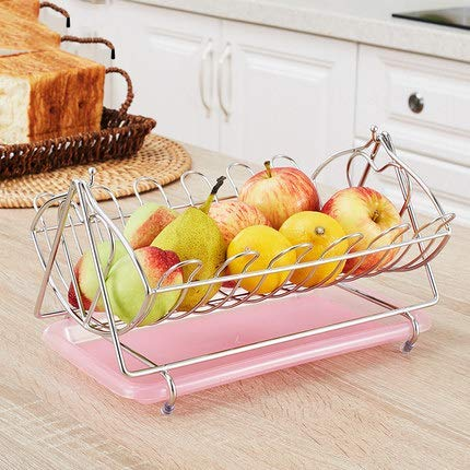 WQF Cesta de Frutas de Acero Inoxidable con Bandeja de Agua, Hamaca de Frutas giratoria cromada, Cuenco de Verduras, Cesta, Soporte de Almacenamiento, B