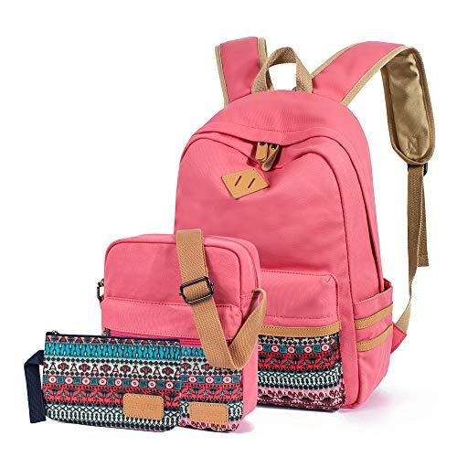 Leaper Rucksäcke für Teenager Mädchen Teenager Rucksack Set Schultaschen Büchertaschen 3-in-1, hellrot (Rot) - BP5273