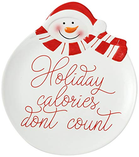 'Holiday Calories Don't Count' Christmas Snowman 10' Ceramic Accent Plate