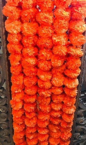 Buycrafty 5 Feet Long Strands Marigold Garlands, Wedding,Flower Garland Set of 5