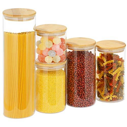 Juego de 5 tarros con tapa de bambú, para almacenar alimentos, especias, té, galletas, vidrio de borosilicato, accesorios de cocina