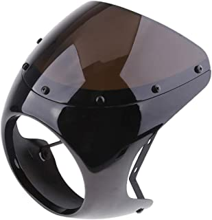D DOLITY Motorcycle Front Headlight Fairing Screen Retro Cafe Racer Style Universal Windshield Fit 7 Inch Head Light - Black