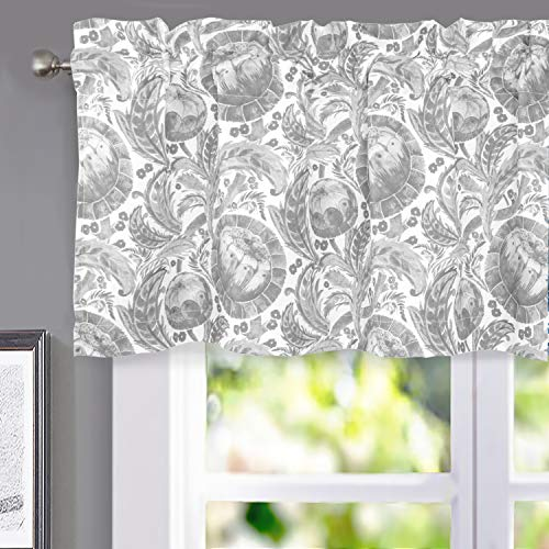 DriftAway Millie Watercolor Floral Botanical Pattern Thermal Insulated Lined Blackout Rod Pocket Window Curtain Valance for Kitchen Café Living Room 52 Inch by 18 Inch Plus 2 Inch Header Gray