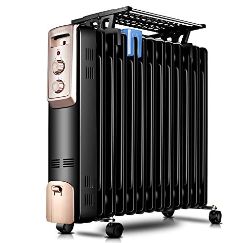 Radiator met 13 fijne olie, met 3 warmteregulerbare thermostaat, oververhittingsbeveiliging, luchtbevochtigingsfunctie, 2200 W, Space-heater. zwart