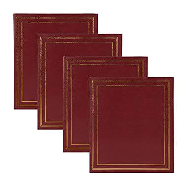 211281 DesignOvation Traditional Burgundy Photo Album, Holds 440 4x6 Photos, Set of 4