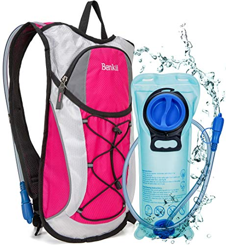 Hydration Backpack with 2L Water Bladder  Lightweight Pack for Running Hiking Riding Camping Cycling Climbing Pink