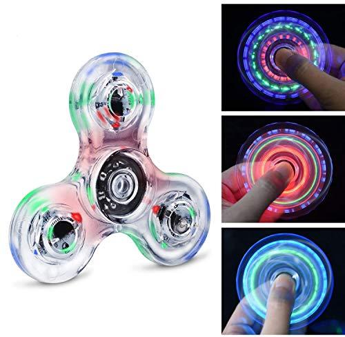Quimat Fidget Spinner Hand Spinner LED Juguetes de Dedos Que se Enciende EDC 216 Modos Flashing para Niños Adultos Ayuda contra la Ansiedad Enfocándose en Reducir el Aburrimiento y estrés