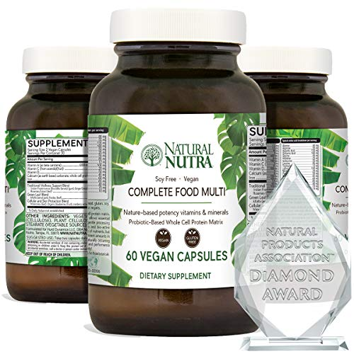 Natural Nutra Whole Food Complete Multivitamin and Mineral with Probiotics for Women and Men, Vegan and Vegetarian, Raw Fruits and Vegetables, Green Foods, Herbs and Antioxidants, 60 Capsules