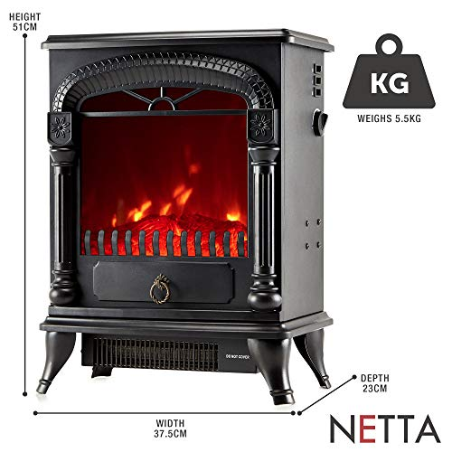 NETTA Electric Fireplace Stove Heater with Log Wood Burner Effect - 2000W with Fire Flame Effect, Arch Design,Freestanding Portable, Wood Burning LED Light - Black