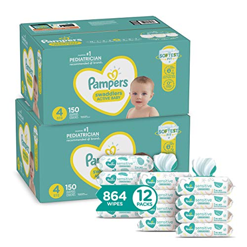 Pampers Swaddlers Disposable Baby Diapers Size 4, 2 Month Supply (2 x 150 Count) with Sensitive Water Based Baby Wipes, 12X Pop-Top Packs (864 Count)