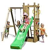Spielturm Funny 3 mit Einzelschaukel | Garten Kletterturm | Spielplatz | Klettergerüst |...