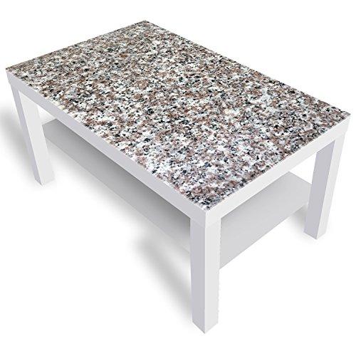 DekoGlas IKEA Lack Beistelltisch Couchtisch 'Granit' Sofatisch mit Motiv Glasplatte Kaffee-Tisch, 90x55x45 cm Weiß