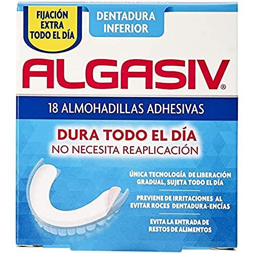 ALGASIV Almohadillas Adhesivas para Dentaduras Postizas Inferiores, Dura Todo el Día y Protege las Encías, 18 Unidades