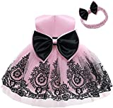 AVAZU 0-6T Easter Big Bowknot Pageant Lace Embroidery Dress Toddler Baby Girls Party Ball Gown Dress Tutu Gown Formal Dresses with Headwear Black+Pink 80