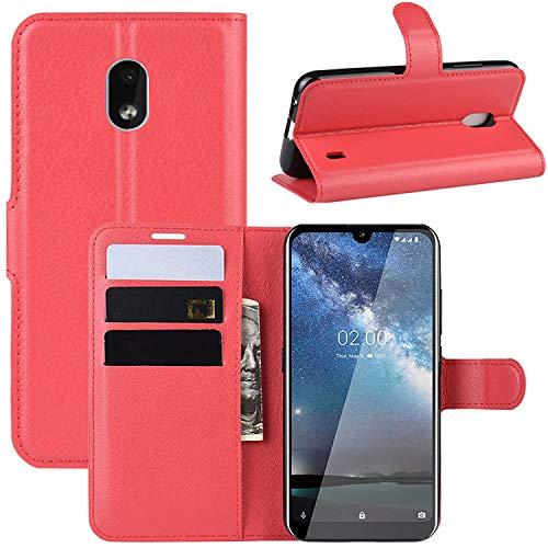 HualuBro Nokia 2.2 Hülle, Leder Brieftasche Etui LederHülle Tasche Schutzhülle HandyHülle Stand Handytasche Leather Wallet Flip Hülle Cover für Nokia 2.2 2019 (Rot)