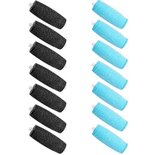 [Lot de 14] Extra Rugueux Rouleaux de Remplacement pour Scholl Velvet Smooth Pedi, Convient pour Enlever la Peau Dure (Noir et Bleu)