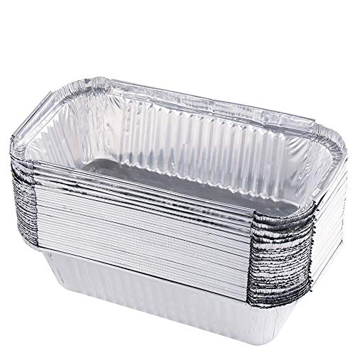 """GEYUEYA Home 50-Pack Grill Drip Pans Aluminum Disposable Take Out Pans for Outdoor Barbecue, Roasting, Broiling and Food Containers - Small Size 7"""" x 4.4"""""""