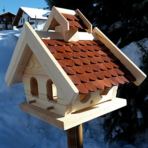 Vogelhaus-XL Braun- Vogelhäuser-Vogelfutterhaus Vogelhäuschen-aus Holz Wetterschutz Putzklappe