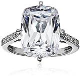 Platinum-Plated Sterling Silver Celebrity 'Kim' Ring made with Swarovski Zirconia, Size 6