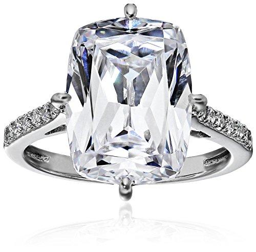 Platinum-Plated Sterling Silver Celebrity 'Kim' Ring made with Swarovski Zirconia, Size 8