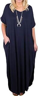 فساتين ماكسي للنساء مقاس إضافي بأكمام قصيرة كاجوال صيفي سادة برباط مصبوغ فستان طويل مع جيوب