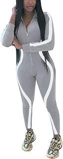 iYBUIA Women Yoga Fitness Motion Workout Reflective Patchwork Long Sleeve Tight Jumpsuit Zipper Slim S-L