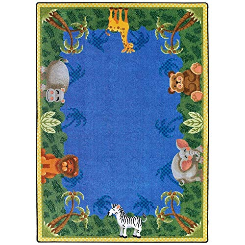 "Joy Carpets Kid Essentials Infants & Toddlers Jungle Friends Rug, Multicolored, 3'10"" x 5'4"""