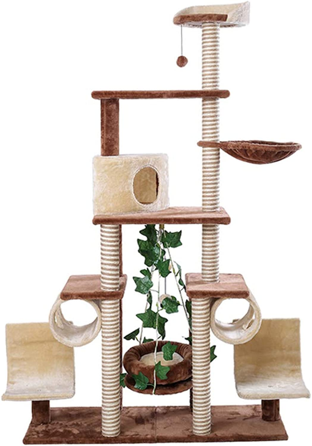 GCHOME Cat tree tower Cat tree, short plush natural sisal cat tree tower cat climbing frame wearresistant scratchresistant durable A02