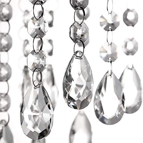48 Piezas Cuentas de Cristal para Araña Colgantes de Prisma de Candelabros de Techo de Lágrima de Cristal Vidrio Transparente para Luz Lámpara Boda Fiesta Decoración de Árbol Hecer Joyería