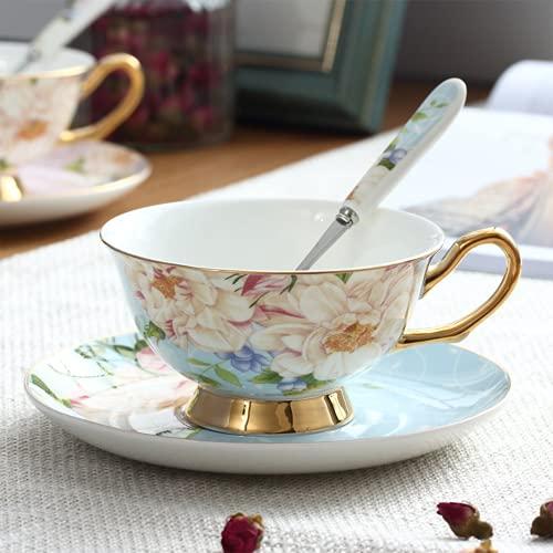 Juego de Taza y platillo Estilo Europeo Art Bone China Taza de café de té de cerámica para el Desayuno Cocina en casa Hogar, restaurantes, exhibición (Blue Enchantress)