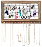Shabby Chic Wooden Wall Mount Jewelry Organizer - Top Hanging Jewelry Holder for Earrings, Necklaces, Bracelets and Accessories