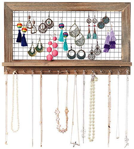 Rustic Wooden Wall Mount Jewelry Organizer for Earrings/Necklaces / Bracelets/Accessories