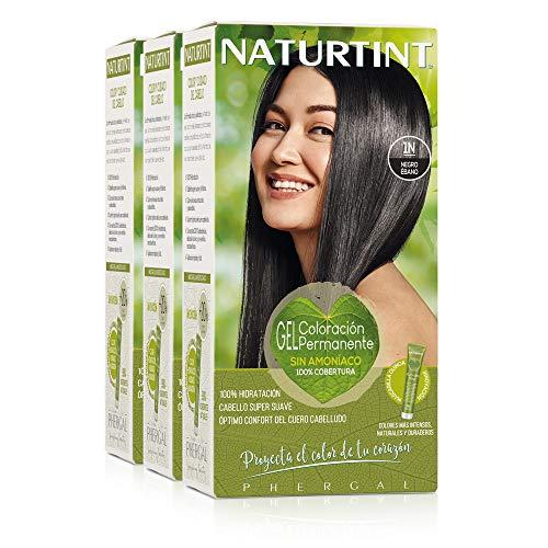 Naturtint Coloración 1N Negro Ébano, 100% Cobertura de canas y Hidratación, Ingredientes Vegetales y Aceites 100% Biobotánicos, Color Natural y Duradero, Sin Amoniaco, Parabenes, Siliconas, Pack de 3.