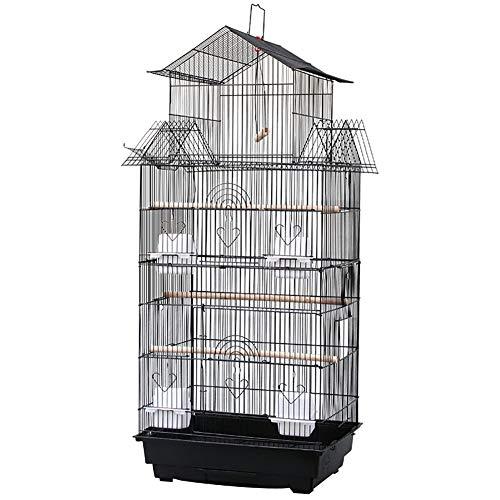 64''sul Tetto Grande Parrocchetto Volo Gabbia per Uccelli,Ferro Battuto Animale Domestico Gabbia di Volo Pappagallo Piccioncini Parrocchetto,Medio Casa degli Animali Domestici Birdcage